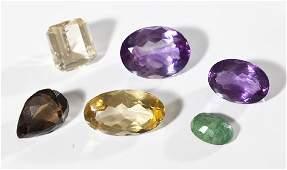 6 Loose Gemstones incl Amethyst  Citrine