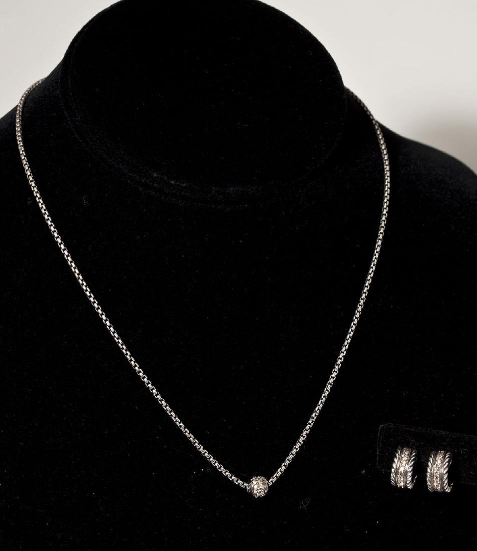 D. Yurman Sterling 18K Diamond Neckalce & Earrings