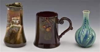 3 Pcs Art Pottery incl. Rozane