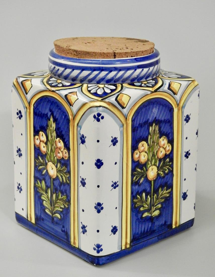 Italian Kitchen Canister Hand Painted Majolica Pottery