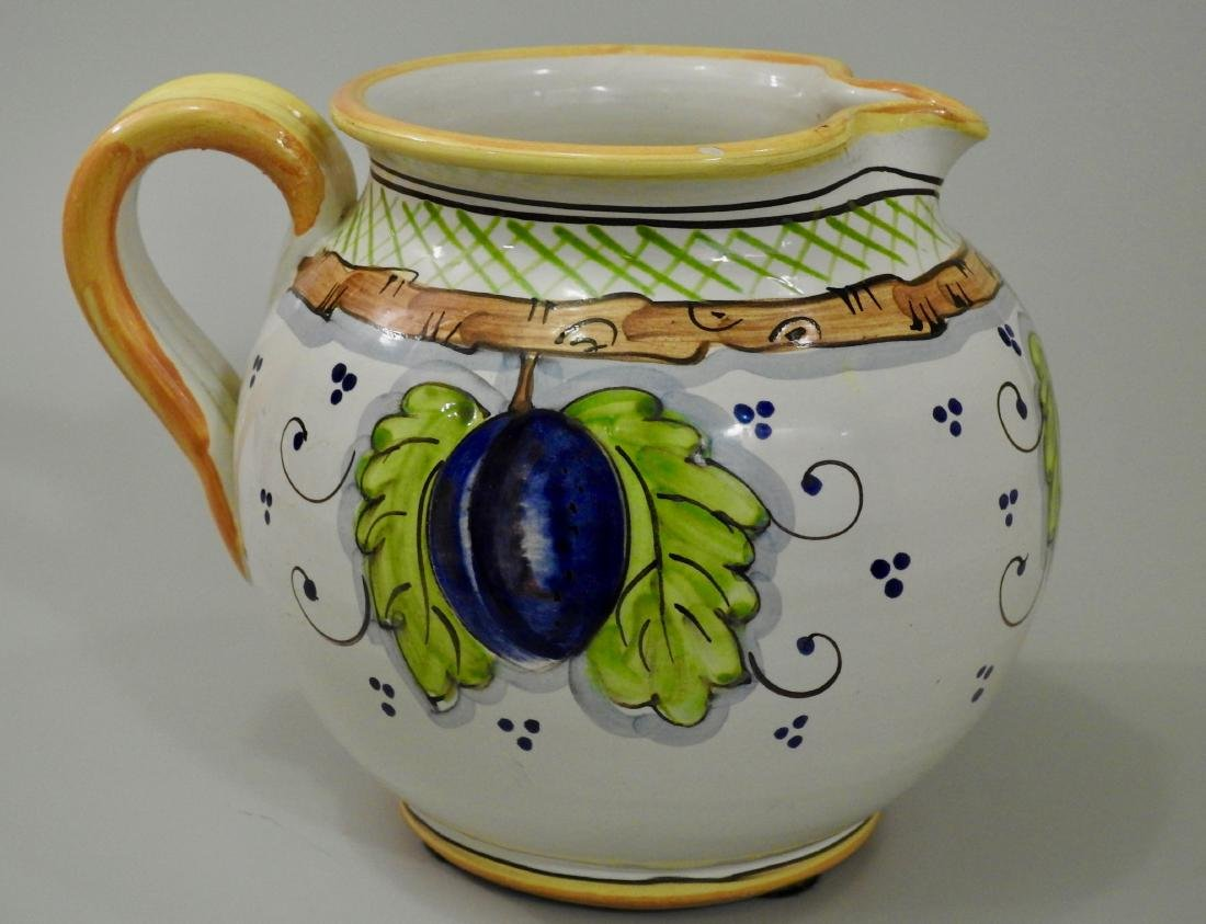 Italian Hand Painted Plums Jug Pitcher