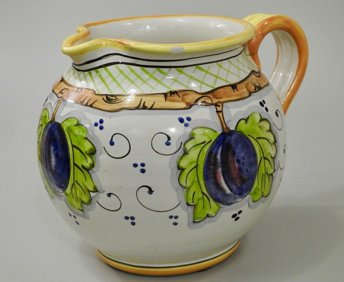 Italian Hand Painted Plums Jug Pitcher - 2