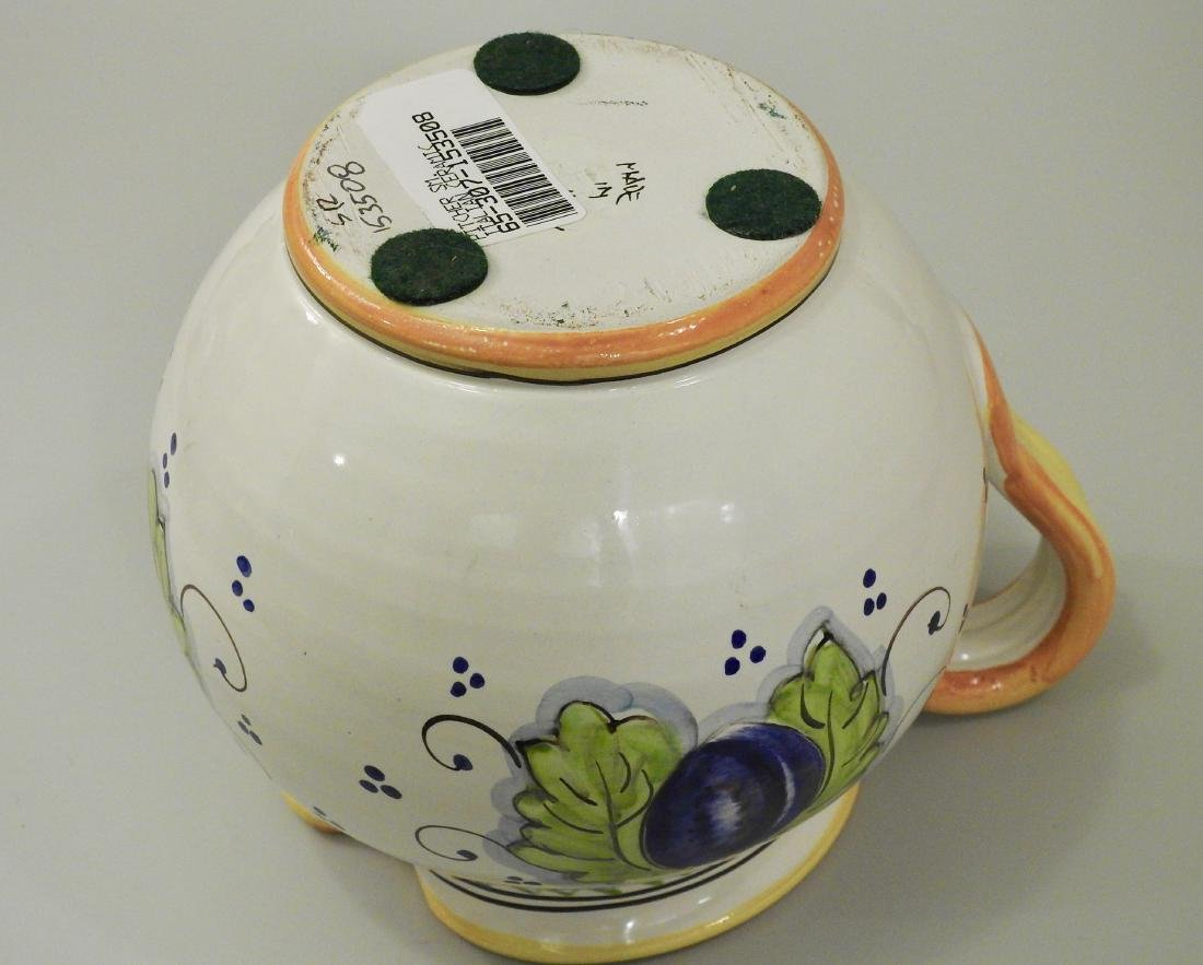Italian Hand Painted Plums Jug Pitcher - 3