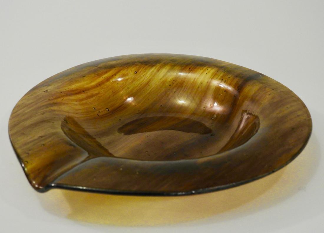 Italian Tortoise Amber Art Glass Ashtray