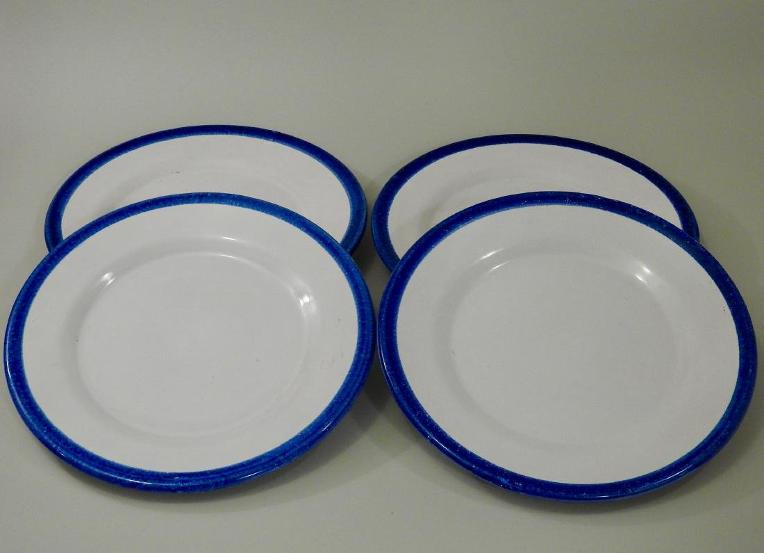 Italian Ceramic Plates with Blue Border Lot of 4