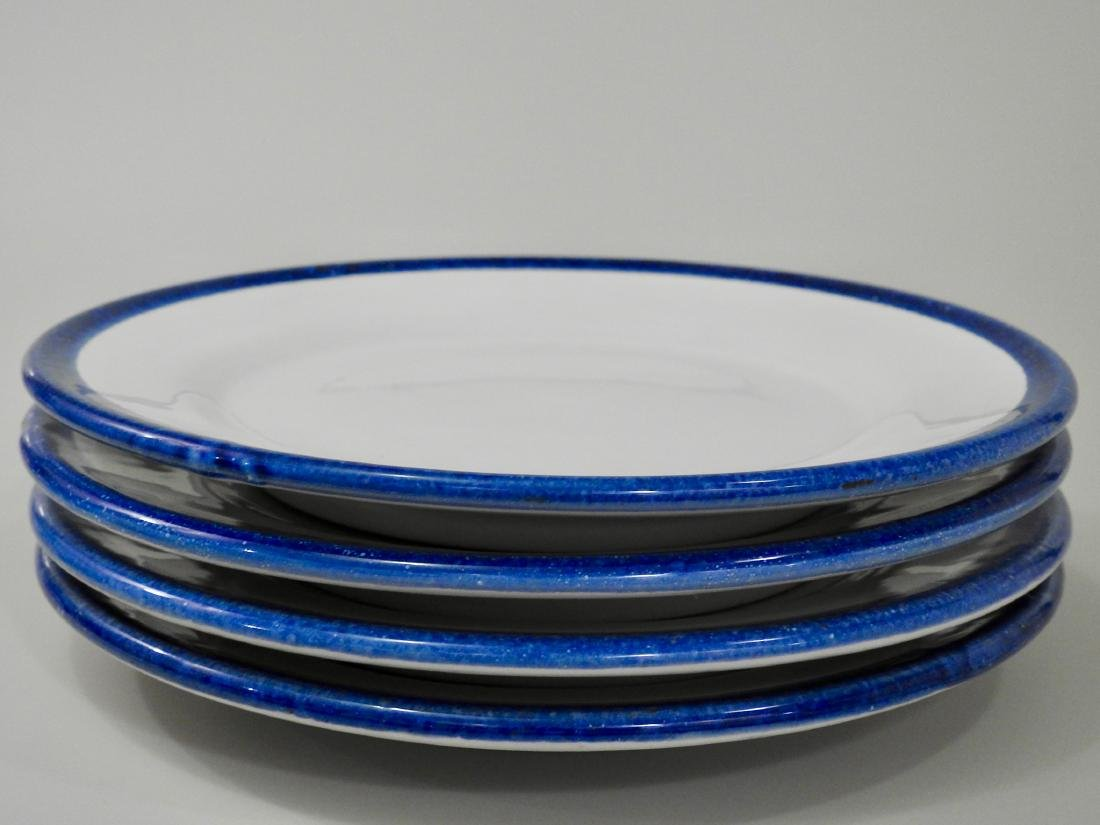 Italian Ceramic Plates with Blue Border Lot of 4 - 2