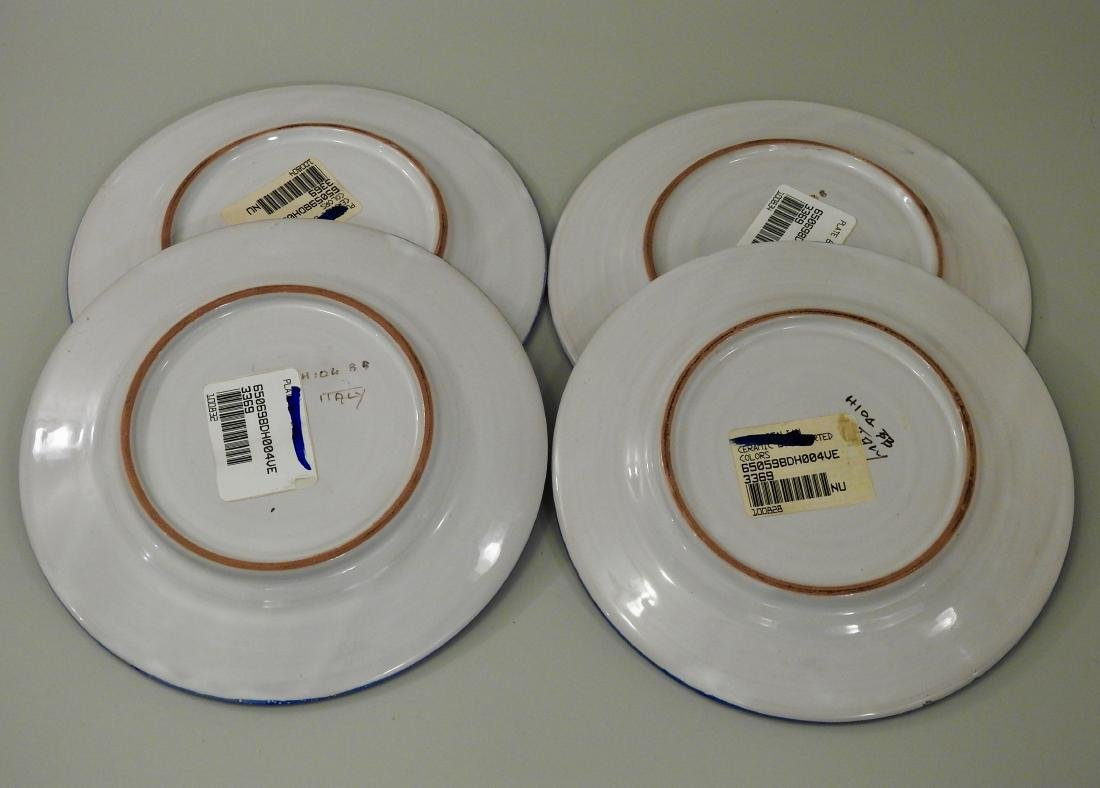 Italian Ceramic Plates with Blue Border Lot of 4 - 3