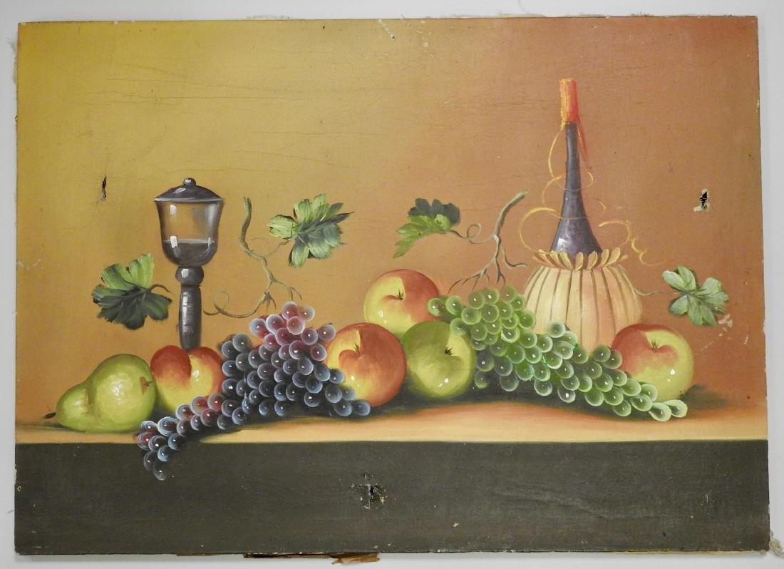 Primitive Fruits Vintage Oil on Canvas Painting