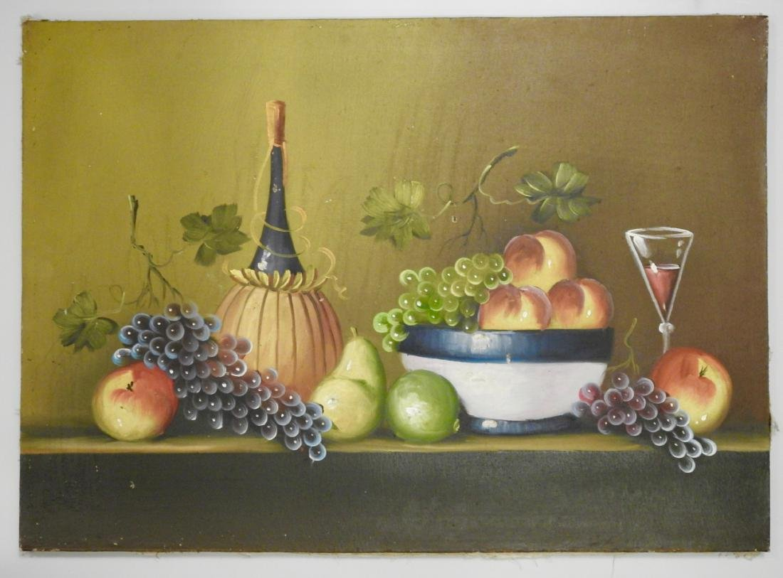 Primitive Italian Wine Oil on Canvas Painting