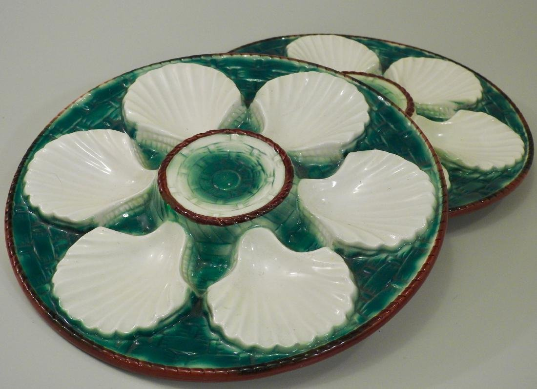 Italian Majolica Ceramic Oyster Plate Lot of 2 Wall