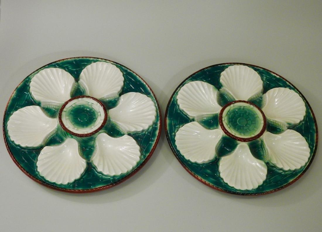 Italian Majolica Ceramic Oyster Plate Lot of 2 Wall - 2