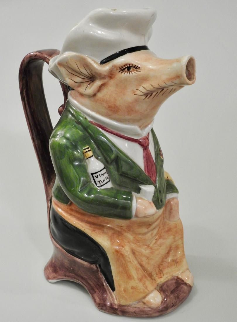 Figural Pig Wine Jug Pitcher