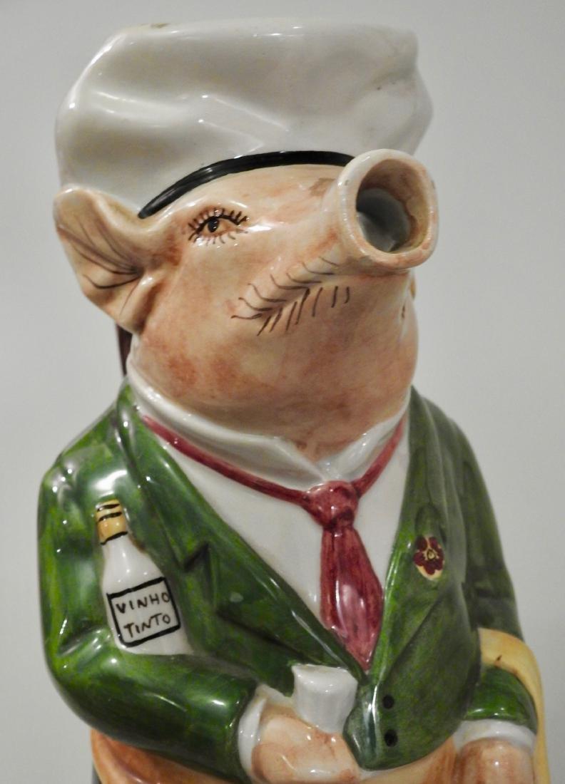 Figural Pig Wine Jug Pitcher - 4