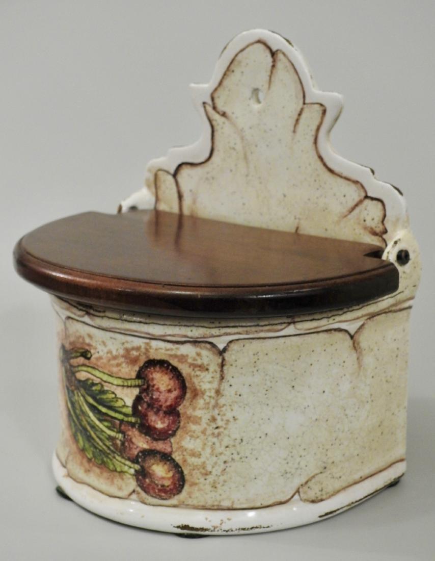 Italian Wall Mount Salt Box Painted Cherry Fresco
