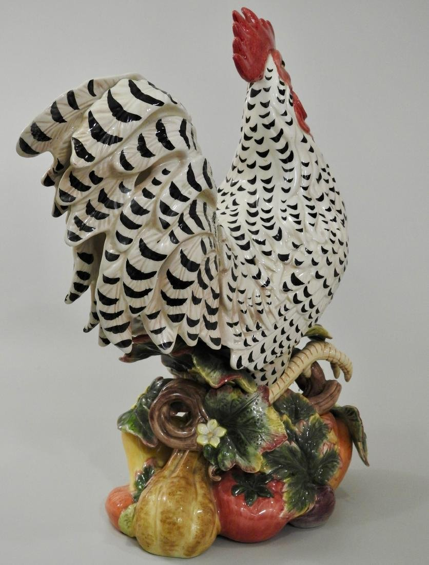 Large Colorful Ceramic Rooster Statue - 3