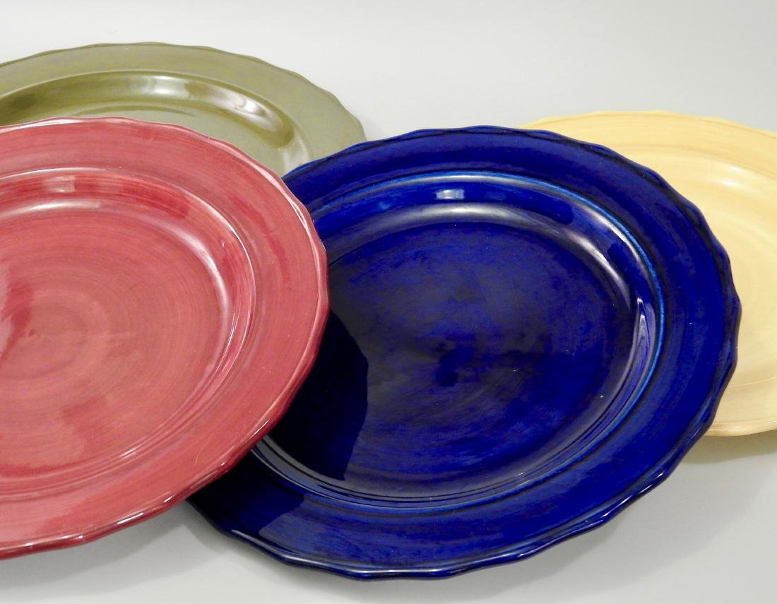 Lot of 4 Stoneware Serving Plates on Metal Stand Home - 2