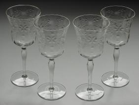 Vintage Art Deco Stemware Wheel Cut Wine Glass Water