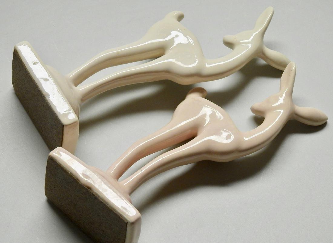 Art Deco Fawn Cream Glaze Ceramic Deer Figurine Lot of - 3
