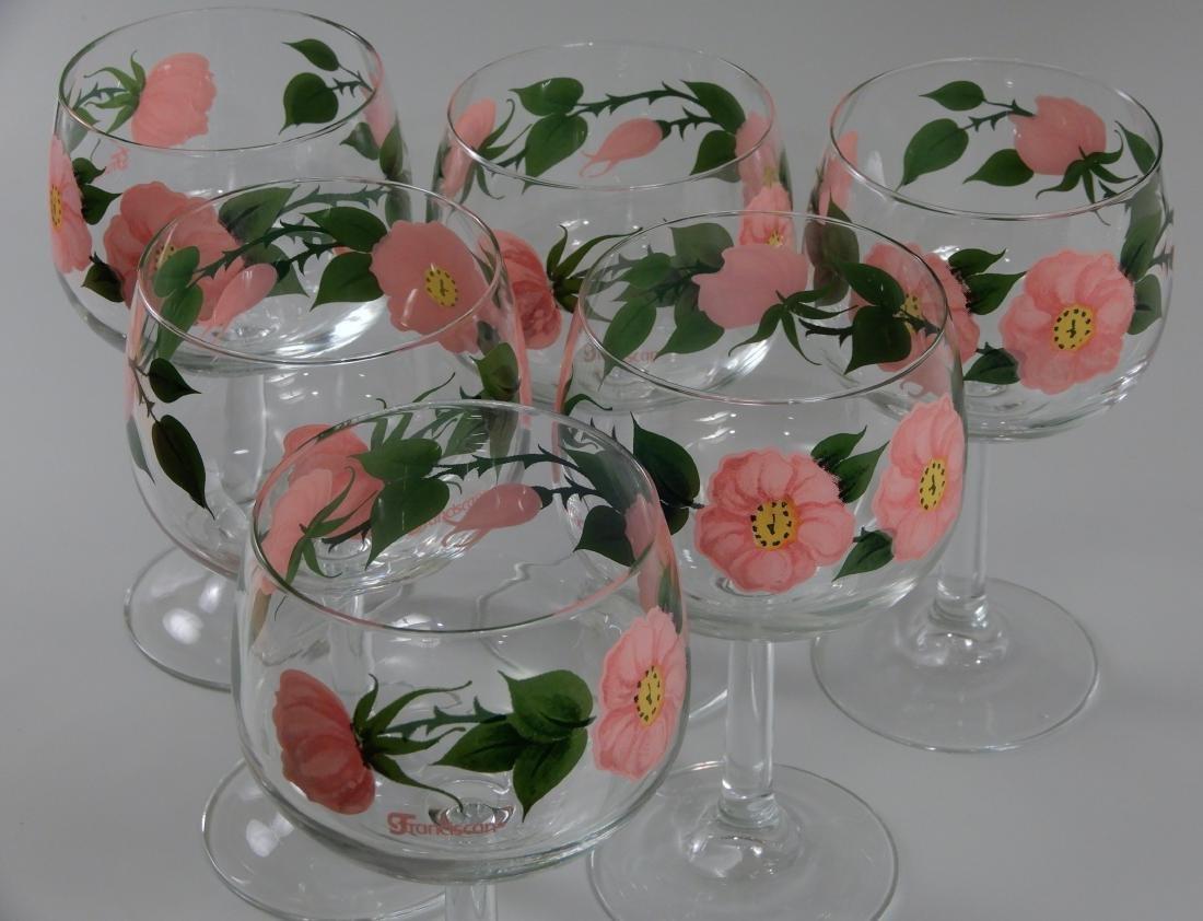 Franciscan Wine Goblets Desert Rose 12 oz Stem Glasses - 2