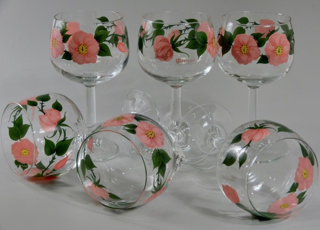 Franciscan Wine Goblets Desert Rose 12 oz Stem Glasses - 3