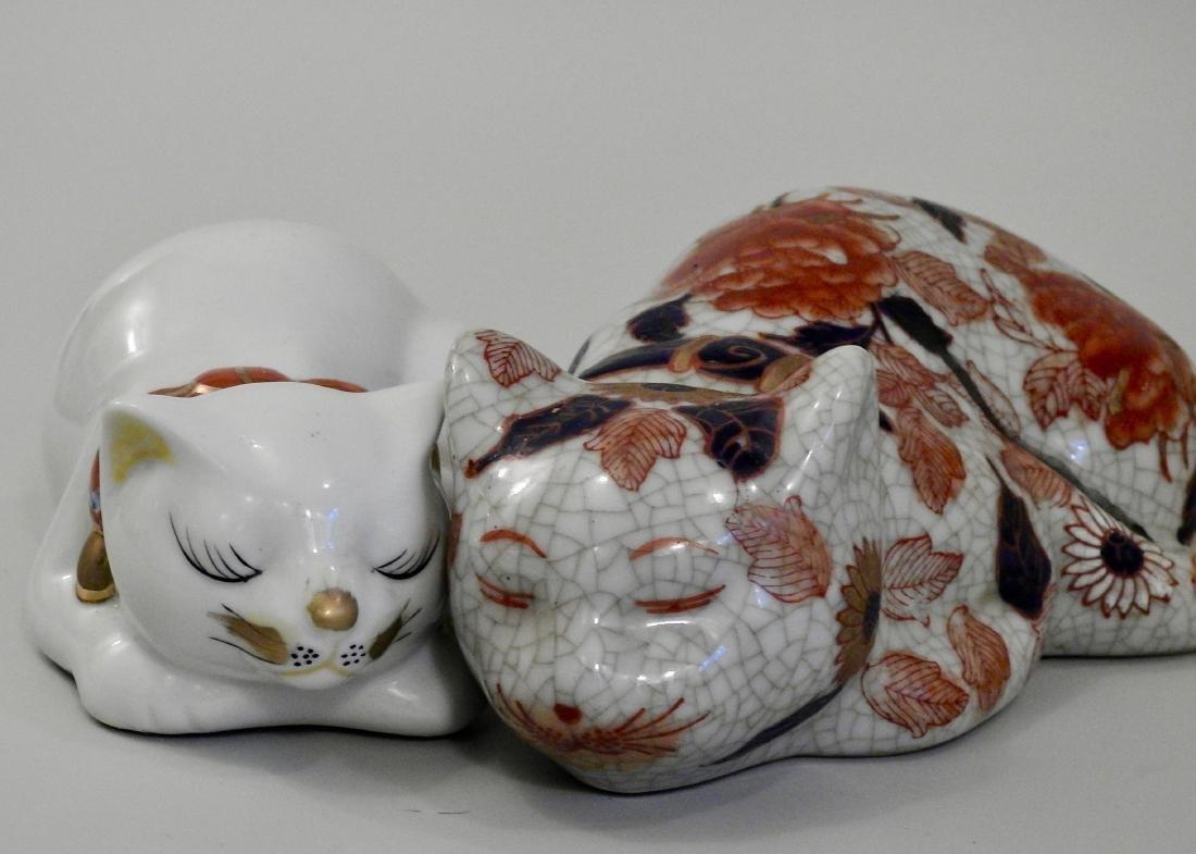 Oriental Kutani Style Cats Lot of 2 - 3