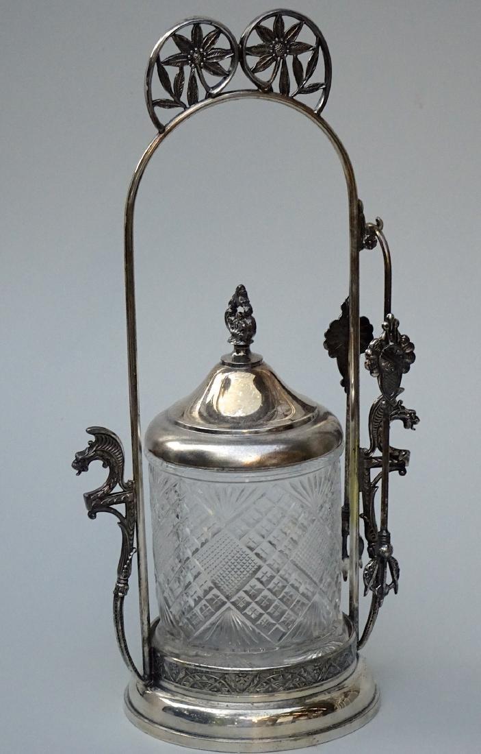 Pairpoint Pickle Castor Jar Original Tongs Quadruple - 3