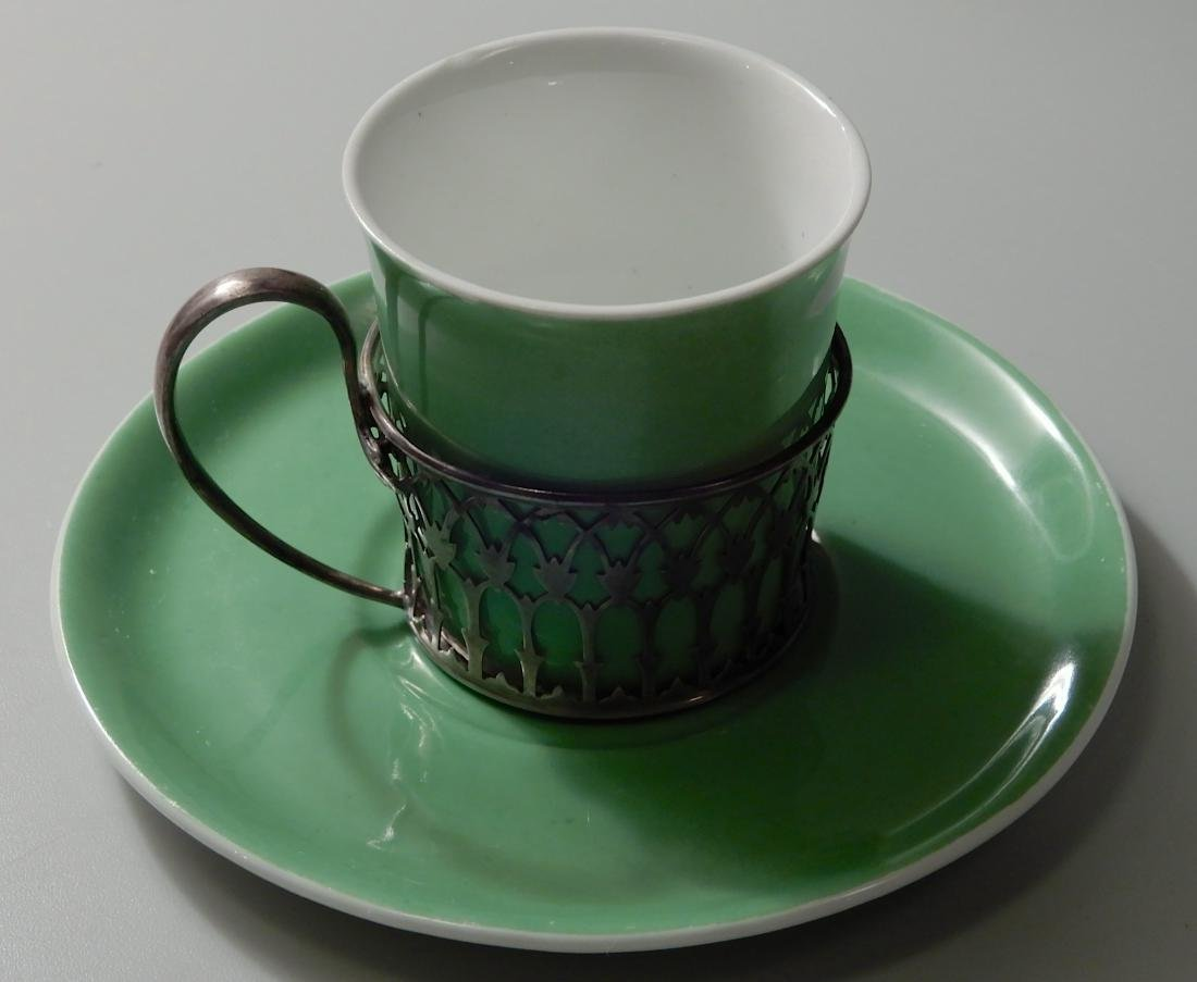 English Shelley Sterling Silver Holder Green China - 2