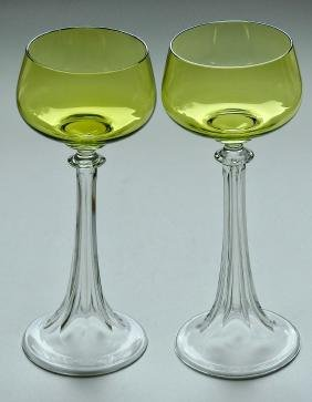 Fine Crystal Roemer Wine Goblet Hollow Stem Green Bowl