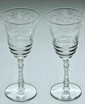 Art Deco Period Cut Glass Toasting Goblets Pair Wine