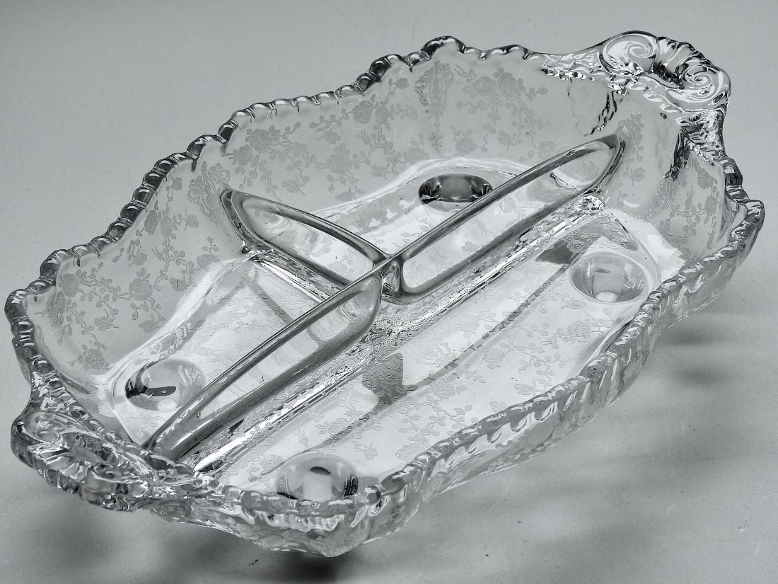 Vintage Art Deco Etched Glass Divided Dish