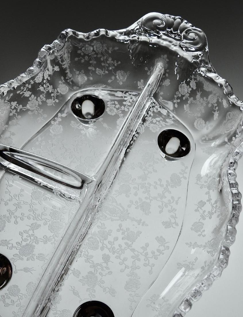 Vintage Art Deco Etched Glass Divided Dish - 2
