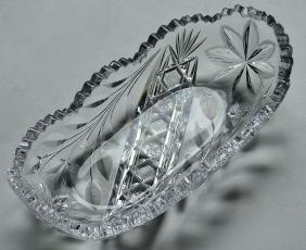 American ABP Flower Period Cut Crystal Oval Dish