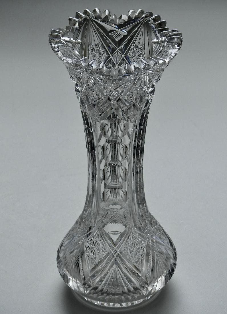 Antique American Crystal Vase Brilliant Period Optic