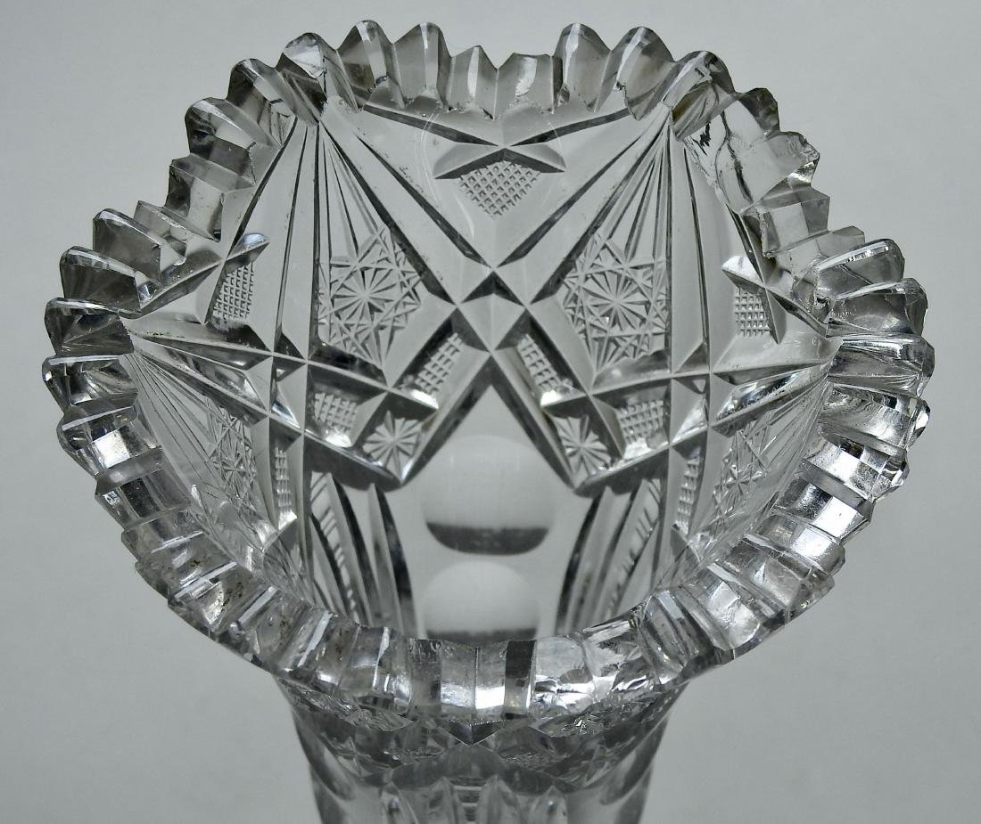 Antique American Crystal Vase Brilliant Period Optic - 6