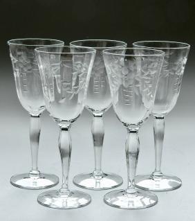 Vintage Art Deco Period Cut Glass Stemware Lot of 5