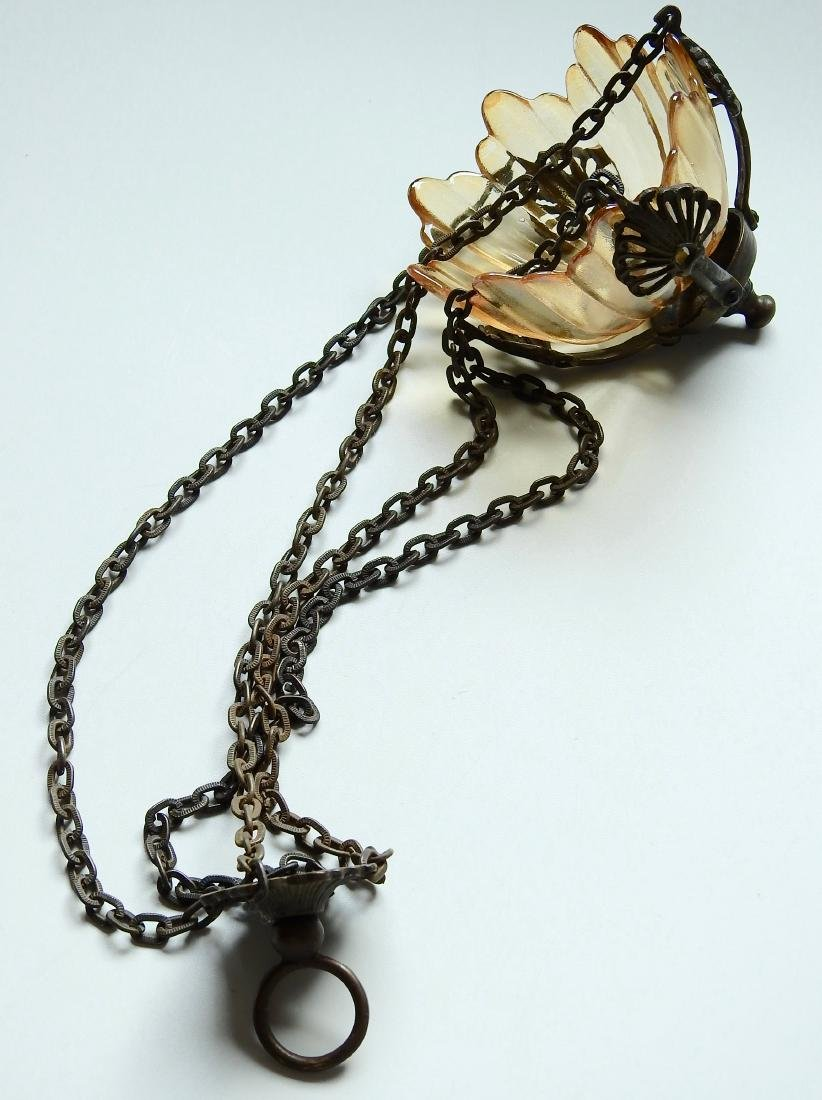 Chain Hanging Lampada Candle Lantern Glass Inset