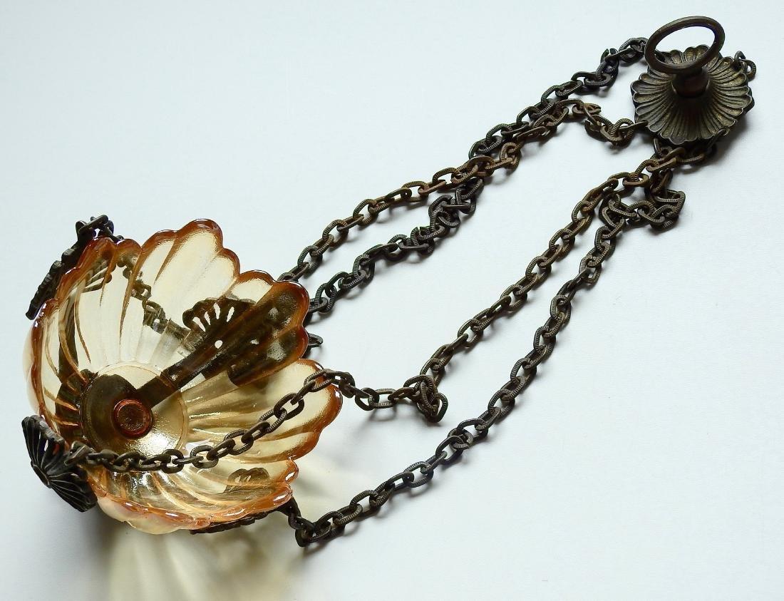 Chain Hanging Lampada Candle Lantern Glass Inset - 2