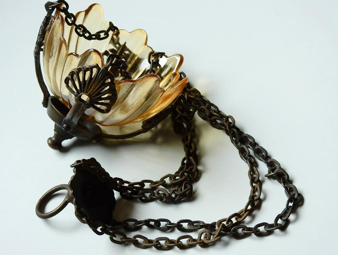 Chain Hanging Lampada Candle Lantern Glass Inset - 3
