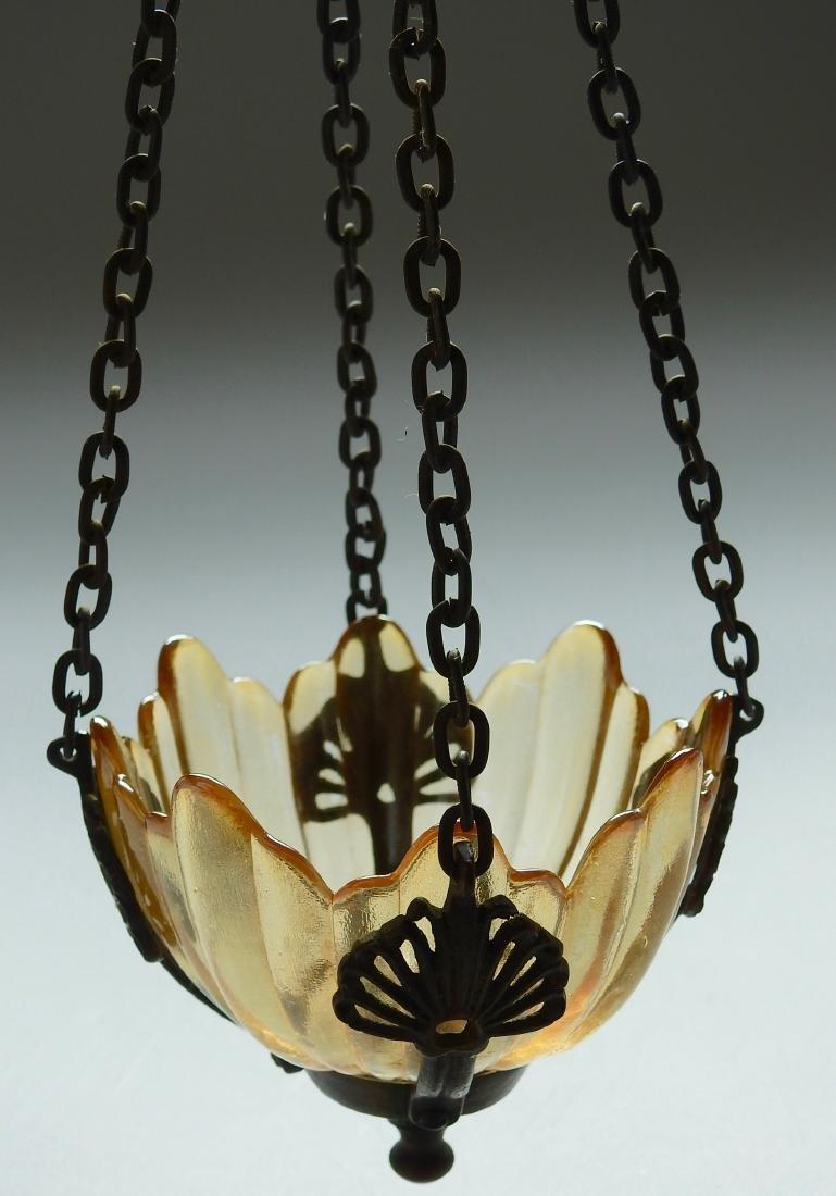 Chain Hanging Lampada Candle Lantern Glass Inset - 4