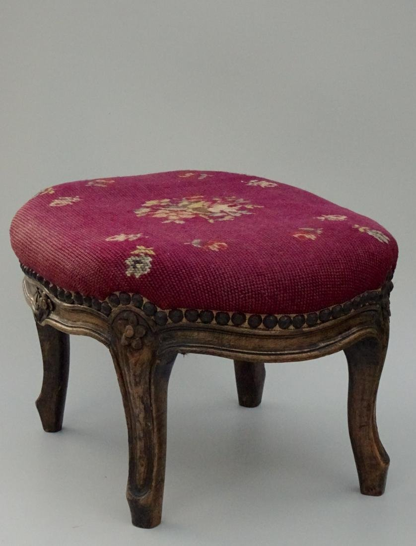 Louis XV Style Needlepoint Upholstered Footstool - 3
