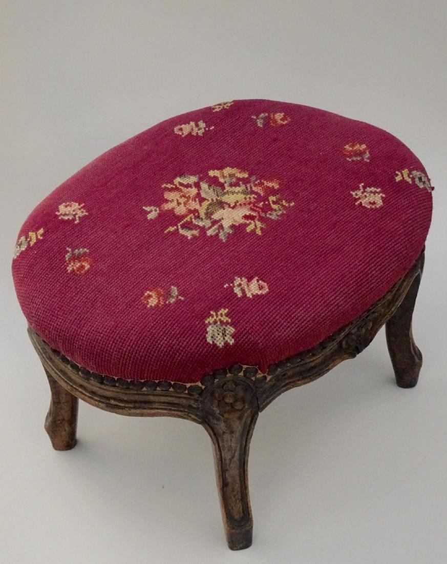 Louis XV Style Needlepoint Upholstered Footstool - 4