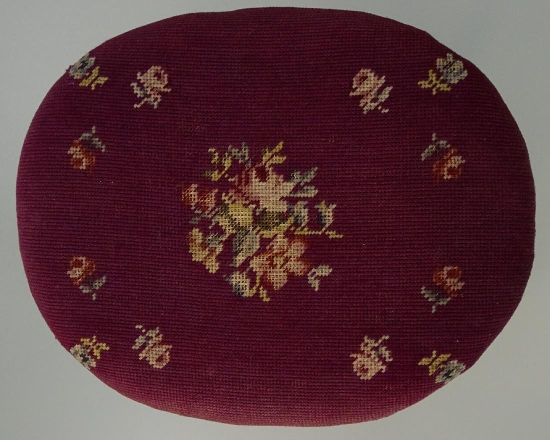 Louis XV Style Needlepoint Upholstered Footstool - 5