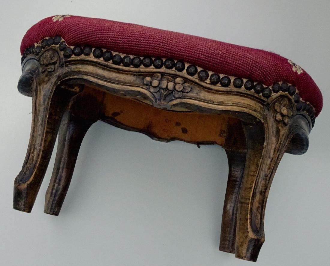 Louis XV Style Needlepoint Upholstered Footstool - 6
