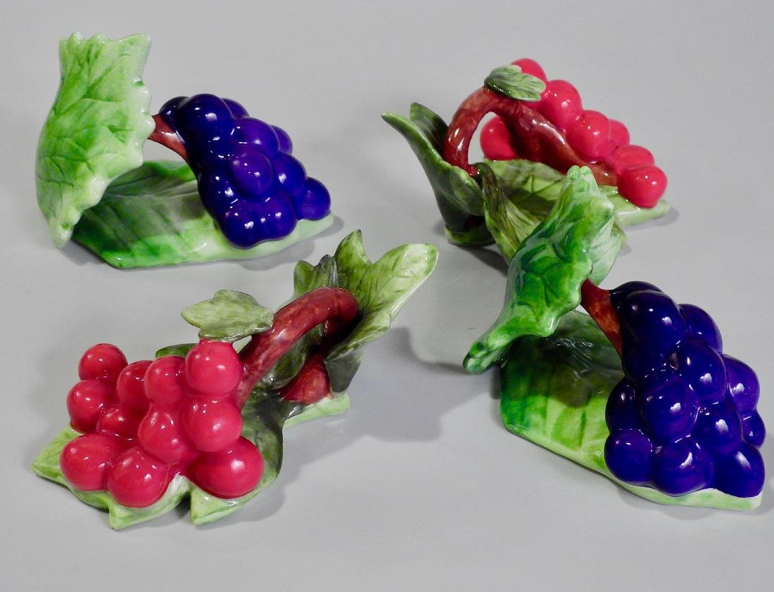 Colorful Ceramic Fruits Napkin Rings Lot of 4 - 2