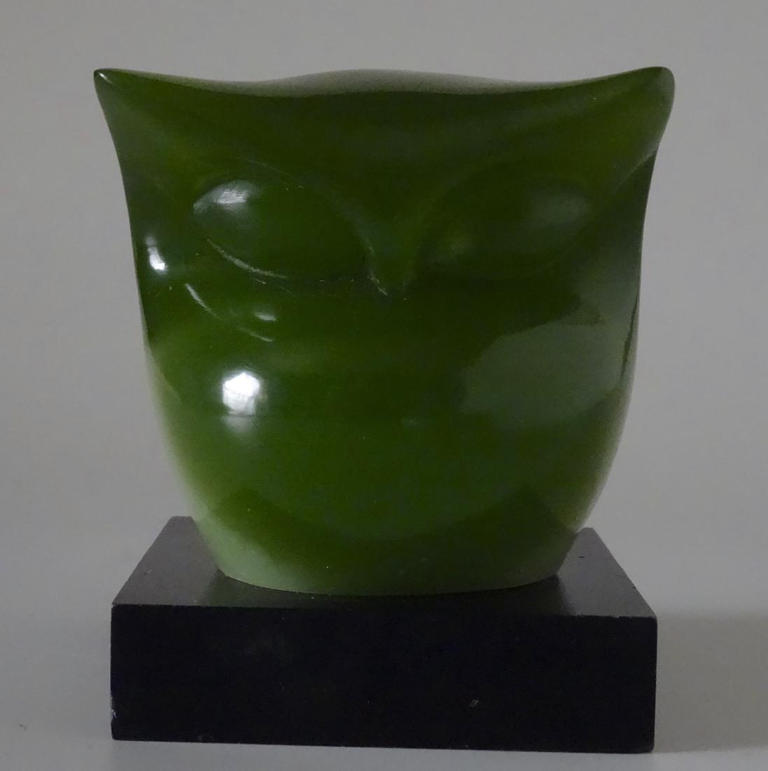 Vintage Mid Century Acrylic Modern Art Green Owl - 2