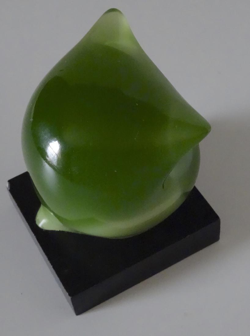 Vintage Mid Century Acrylic Modern Art Green Owl - 5
