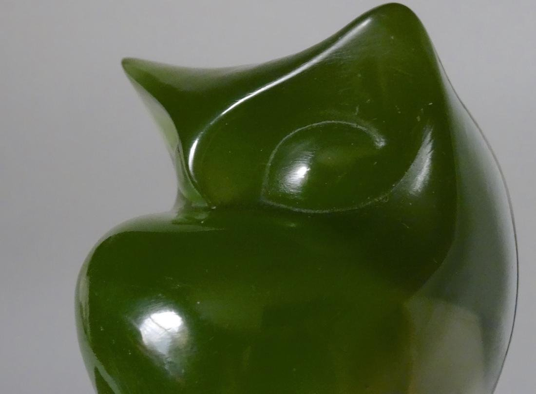 Vintage Mid Century Acrylic Modern Art Green Owl - 6