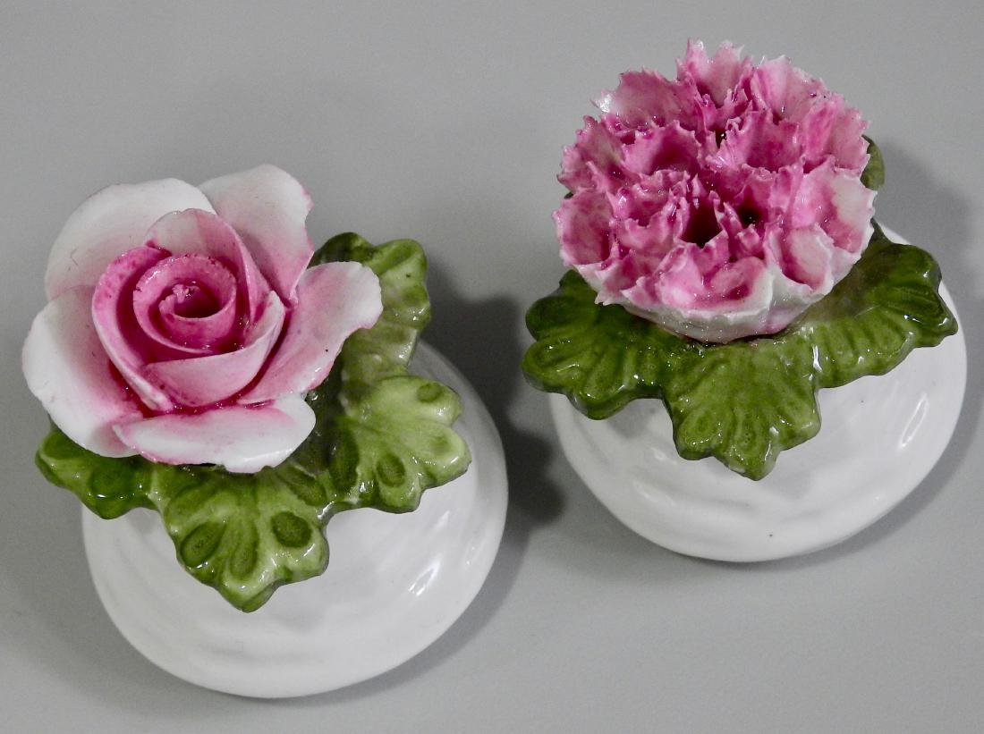 Aynsley English Bone China Flowers Salt Pepper Shakers - 2