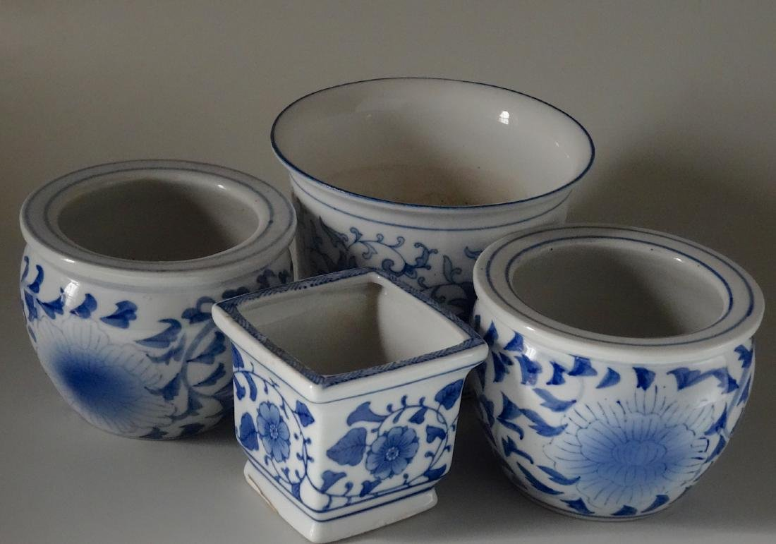 Painted Blue and White Cachepot Planter Oriental Style