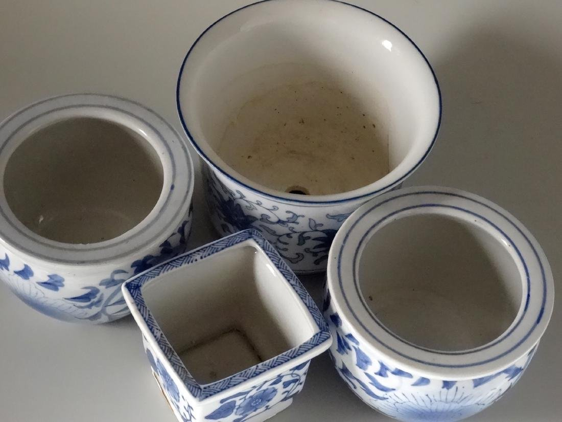 Painted Blue and White Cachepot Planter Oriental Style - 2